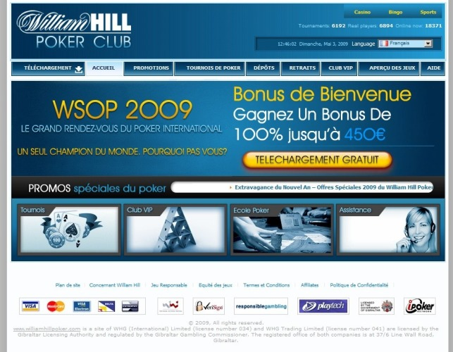 Aperçu William Hill Poker (Bonus & Informations)